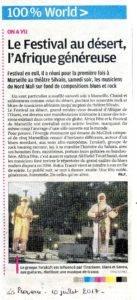 Article La Provence du 10 juillet 2017 Festival au désert