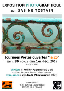Affiche Expo photo Sabine Tostain Atelier Fabre Le 25 portes ouvertes 2019
