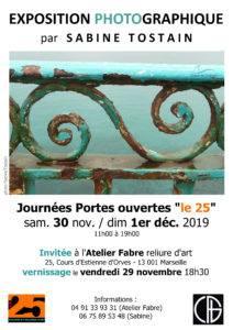 Affiche Expo photo Sabine Tostain Atelier Fabre Le 25 portes ouvertes 2019