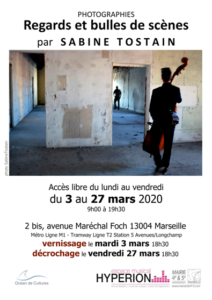Flyer expo photo Sabine Tostain Mars 2020 Marseille 4e