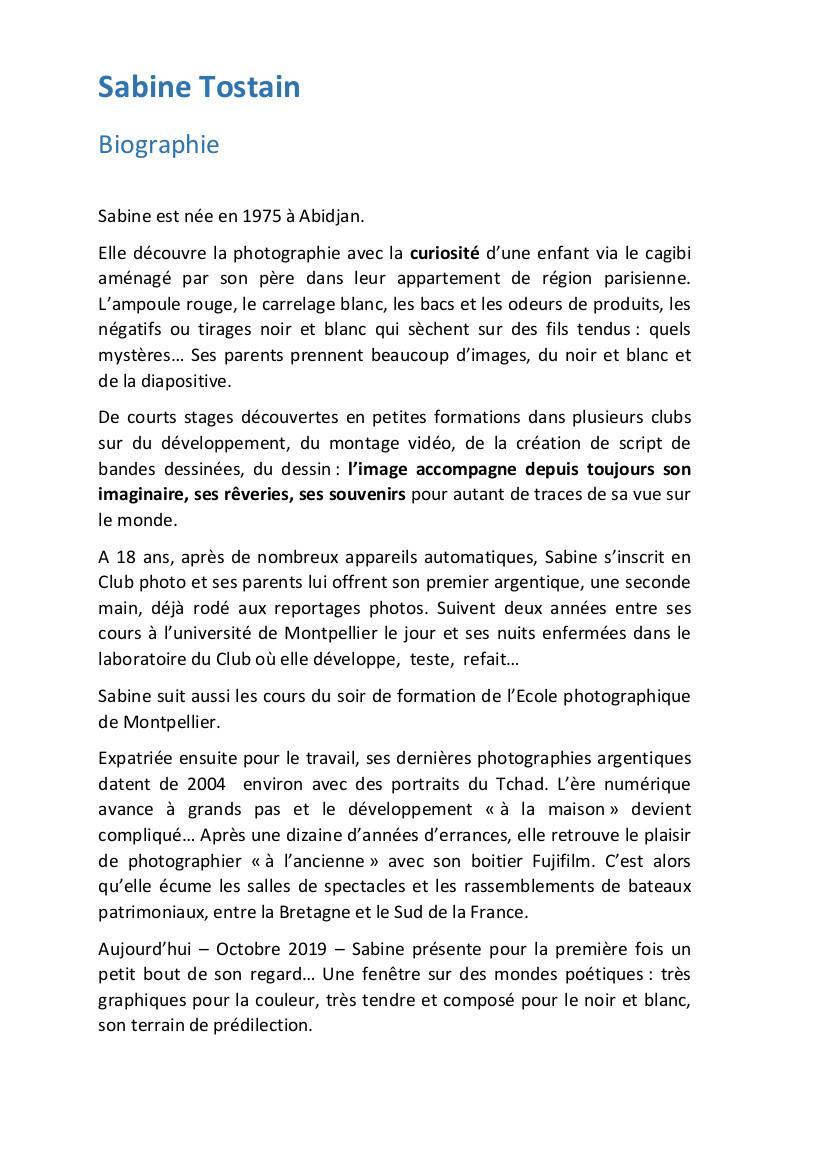 Biographie Sabine Tostain Octobre 2019 première