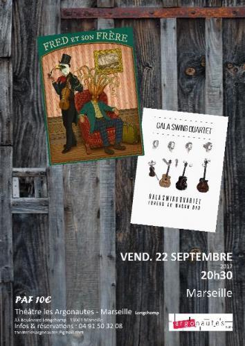 Fred et son frère - Gala Swing Quartet - Théâtre les Argonautes Marseille, affiche Sabine Tostain